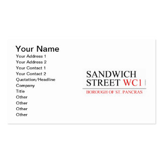 Calle del bocadillo tarjetas de visita