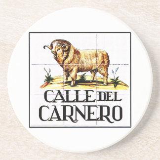 Calle del Carnero, Madrid Street Sign Drink Coaster