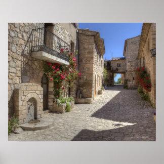 Calle del guijarro, edificios de piedra, histórico póster