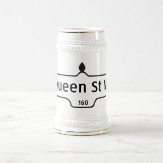 Calle del oeste, placa de calle de la reina de jarra de cerveza