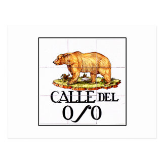 Calle del Oso, Madrid Street Sign Postcard