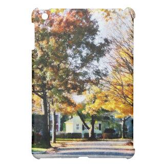 Calle del otoño con la casa amarilla