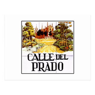 Calle del Prado, Madrid Street Sign Postcard