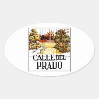 Calle del Prado, Madrid Street Sign Oval Stickers
