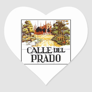 Calle del Prado, Madrid Street Sign Heart Sticker