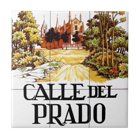 Calle del prado madrid street sign tile for Calle del prado 9 madrid espana