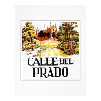 Calle del Prado, placa de calle de Madrid Plantilla De Membrete