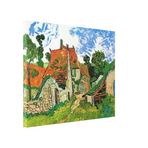 Calle del pueblo de Van Gogh, bella arte del