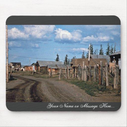 Calle del pueblo del Yukón del fuerte Tapetes De Ratones