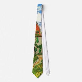 Calle del pueblo en Auvers de Van Gogh Corbata Personalizada