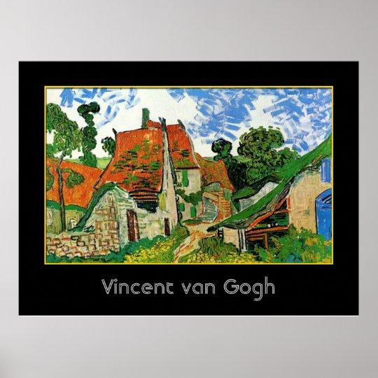 Calle del pueblo en Auvers, Vincent van Gogh Póster