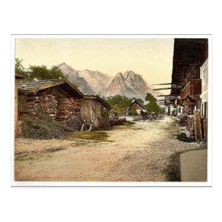 Calle del pueblo Garmisch Baviera superior Alem Tarjeta Postal