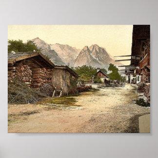 Calle del pueblo, Garmisch, Baviera superior, Póster