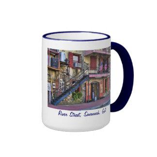Calle del río del vintage, sabana, Georgia Tazas De Café