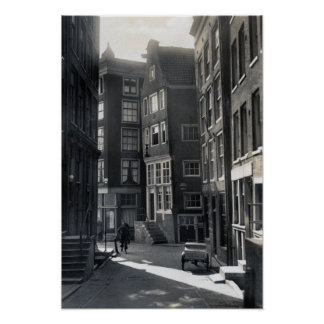 Calle del St. Olofssteeg de Amsterdam Países Bajos Póster