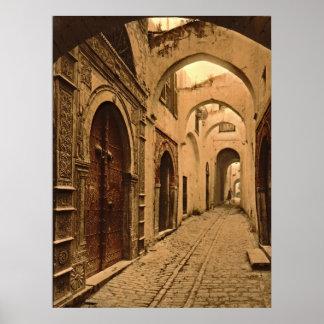 Calle del tesoro en Túnez Póster