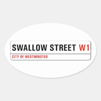 Calle del trago, placa de calle de Londres Pegatina Ovalada