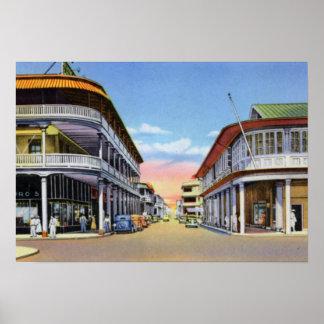 Calle delantera de Panamá de los dos puntos Posters
