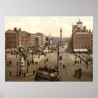 Calle Dublín Irlanda de O'Connell del vintage Poster