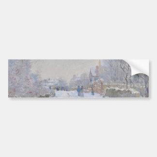 Calle en la nieve Argenteuil de Claude Monet Etiqueta De Parachoque