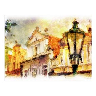 Calle en la vieja parte de Praga Tarjetas Postales
