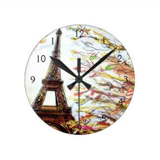 Calle en París - ejemplo 2 Reloj De Pared