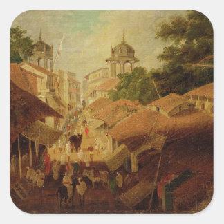 Calle en Patna, c.1825 (aceite en lona) Calcomanía Cuadrada