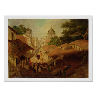 Calle en Patna, c.1825 (aceite en lona) Póster