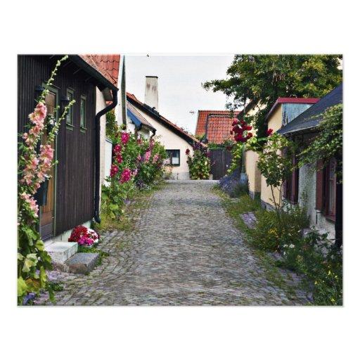 Calle en Visby viejo Suecia Invitación