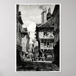Calle francesa vieja póster