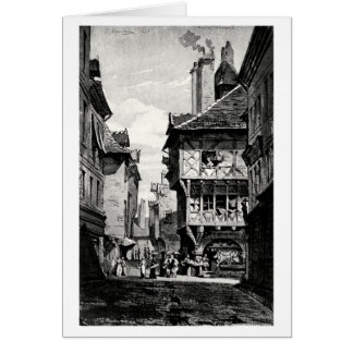 Calle francesa vieja tarjeta de felicitación