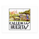 Calle Huertas, placa de calle de Madrid Tarjeta Postal