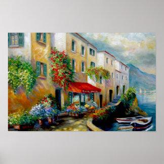 Calle italiana del frente de océano póster