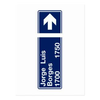 Calle Jorge Luis Borges, placa de calle de Buenos Tarjetas Postales