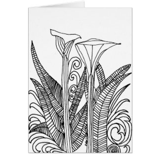 """Calle Lillies Coloring Picture 5"""" x 7"""" Blank Card"""