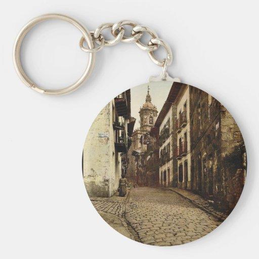Calle Mayor, Fuenterrab&iacutea, Spain vintage Pho Keychains