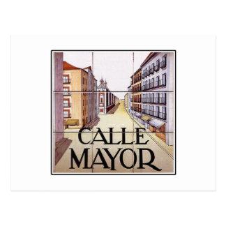 Calle Mayor, Madrid Street Sign Postcard