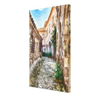 Calle medieval en España, Cataluña Impresión En Lienzo