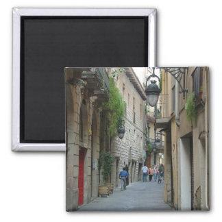 Calle medieval imán cuadrado