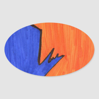 Calle moderna pegatina oval personalizadas