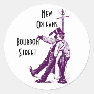 Calle New Orleans de Borbón de los pegatinas del Pegatina Redonda
