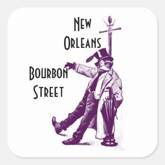 Calle New Orleans de Borbón de los pegatinas del Pegatina Cuadrada