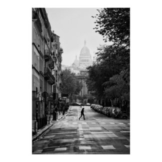 Calle parisiense y Sacre Coeur - poster