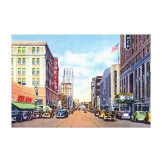 Calle principal 1940 de Akron Ohio Impresión En Lienzo Estirada