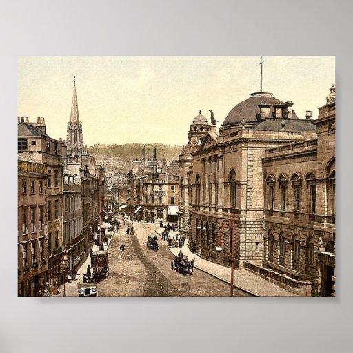 Calle principal, baño, vintage Photochrom de Póster