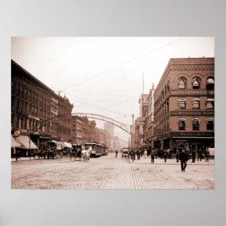 Calle principal Columbus OH de la foto antigua art Poster