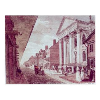 Calle principal con la primera iglesia presbiteria tarjeta postal