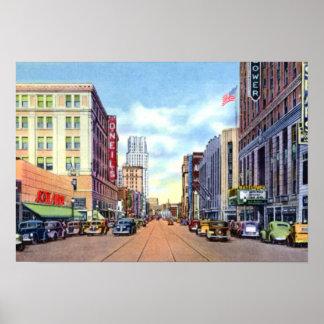 Calle principal de Akron Ohio en los años 40 Póster