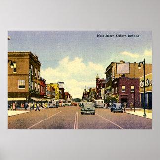 Calle principal de Elkhart, Indiana Póster