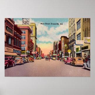 Calle principal de Evansville Indiana Póster